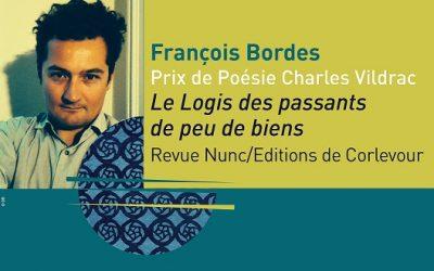 Prix de Poésie Charles Vildrac 2015 – François Bordes